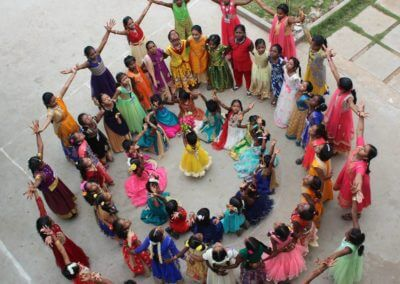 students dance at karthi vidhyalaya